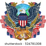 american eagle and flag | Shutterstock .eps vector #526781308