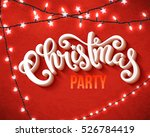 christmas party poster with... | Shutterstock .eps vector #526784419