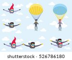 skydiver man and woman flying... | Shutterstock .eps vector #526786180