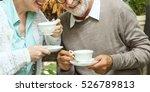 senior couple afternoon tea...   Shutterstock . vector #526789813