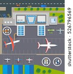 airport top view with planes ... | Shutterstock . vector #526796569
