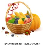 fruits and vegetables in wicker ... | Shutterstock . vector #526799254