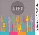 menu  watercolor  vector  fork  ... | Shutterstock .eps vector #526803394