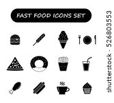 fast food black and white icons ... | Shutterstock .eps vector #526803553