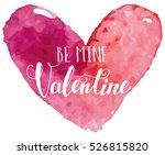 grungy pink watercolor heart... | Shutterstock .eps vector #526815820