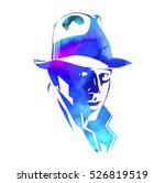 silhouette of man in a hat and... | Shutterstock .eps vector #526819519