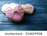 Heart Shaped Cookies On Wooden...