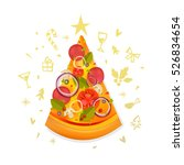 christmas pizza slice with star ... | Shutterstock .eps vector #526834654
