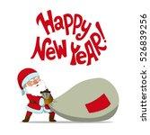 santa claus dragging a big sack ... | Shutterstock .eps vector #526839256