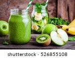 green healthy  smoothie in ... | Shutterstock . vector #526855108