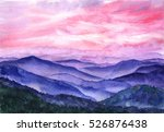 Stock photo hand drawn watercolor background landscape hill mountain sunlight through the cloud sky pink 526876438