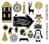 christmas set. penguin  tree ... | Shutterstock .eps vector #526878550
