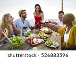 group of people dining concept | Shutterstock . vector #526883596