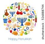 happy hanukkah. jewish holiday... | Shutterstock .eps vector #526888744