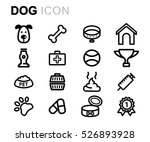 vector line dog icons set on... | Shutterstock .eps vector #526893928