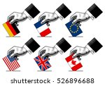 hand putting voting paper with... | Shutterstock .eps vector #526896688