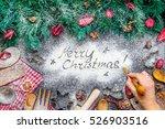 girls hand writing merry... | Shutterstock . vector #526903516