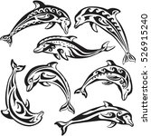 set of decorated dolphins on... | Shutterstock .eps vector #526915240