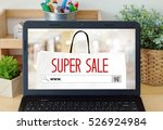 on line shoping concept on blur ...   Shutterstock . vector #526924984