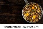 frying pan steel with mushrooms ... | Shutterstock . vector #526925674