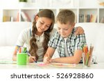 brother and sister drawing | Shutterstock . vector #526928860