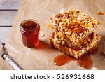 caramel tart with nuts  maple... | Shutterstock . vector #526931668