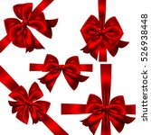 set of red gift bows.vector... | Shutterstock .eps vector #526938448