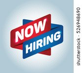 now hiring arrow tag sign. | Shutterstock .eps vector #526948690