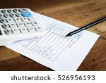 utility bill with calculator... | Shutterstock . vector #526956193