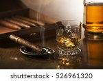 glass of whiskey with ice cubes ... | Shutterstock . vector #526961320