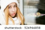 Woman In White Scarf And Hat...