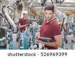 two engineers check... | Shutterstock . vector #526969399