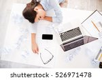 young tired woman at office... | Shutterstock . vector #526971478