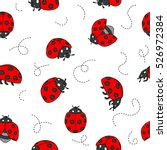 Red Ladybugs And Lines Cartoon...