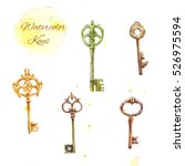 set of watercolor keys  vintage ... | Shutterstock . vector #526975594