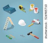 isometric vector renovation... | Shutterstock .eps vector #526985710
