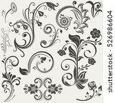 vintage floral design elements... | Shutterstock .eps vector #526986604