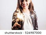 happy little girl in sequins... | Shutterstock . vector #526987000