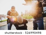 terrorists with weapon captured ... | Shutterstock . vector #526990498