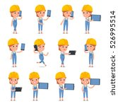 set of smart and cute character ... | Shutterstock .eps vector #526995514