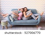 teen two girls on pajama party... | Shutterstock . vector #527006770