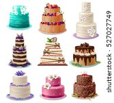sweet baked cakes set with... | Shutterstock .eps vector #527027749