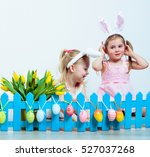happy little girls playing with ... | Shutterstock . vector #527037268