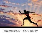 disabled sportsman runner with... | Shutterstock . vector #527043049