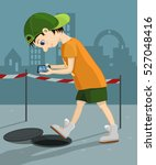 computer addicted child walks... | Shutterstock .eps vector #527048416