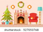christmas interior design with... | Shutterstock .eps vector #527053768