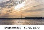 sunset river power line | Shutterstock . vector #527071870