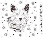 Christmas Card With Dog Corgi....