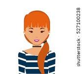 cartoon woman smiing wearing... | Shutterstock .eps vector #527100238