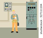 electrician makes electrical... | Shutterstock .eps vector #527111104